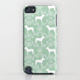 Pitbull floral silhouette pet portrait cute dog lover rescue dog lover pitbulls portrait dog breeds iPhone Case