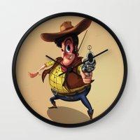 cowboy Wall Clocks featuring Cowboy by Marjan Art