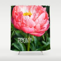 peony Shower Curtains featuring Peony by Artistic Home Decor