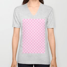 Pink Lace Pink and Cotton Candy Pink Checkerboard Unisex V-Neck