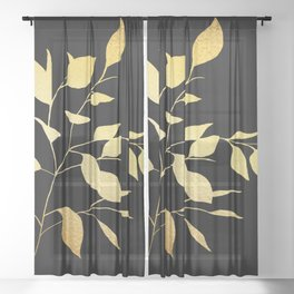 Gold & Black Leaves Sheer Curtain