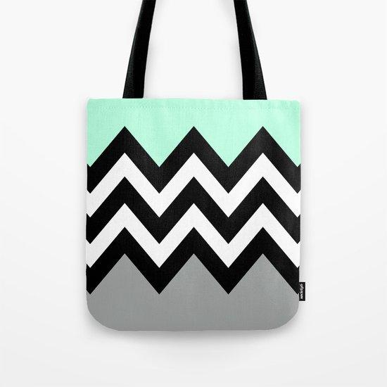 DOUBLE COLORBLOCK CHEVRON {MINT/BLACK/GRAY} Tote Bag