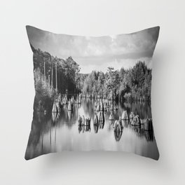 Dead Lakes Florida Black and White Throw Pillow