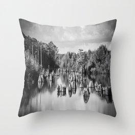 Dead Lakes Florida Black and White Throw Pillow