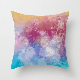 Bright Pastel Paint Splash Abstract Throw Pillow