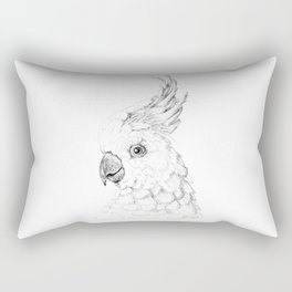 Sulphur Crested Cockatoo - Black and White Portrait Rectangular Pillow