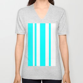 Mixed Vertical Stripes - White and Aqua Cyan Unisex V-Neck