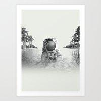 astronaut Art Prints featuring Astronaut by lacabezaenlasnubes