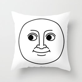 Creepy Moon Face Throw Pillow