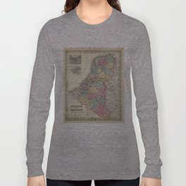 Vintage Map of Holland and Belgium (1856) Long Sleeve T-shirt