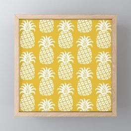 Retro Mid Century Modern Pineapple Pattern Yellow 2 Framed Mini Art Print
