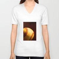 baseball V-neck T-shirts featuring Baseball by Janice Sullivan
