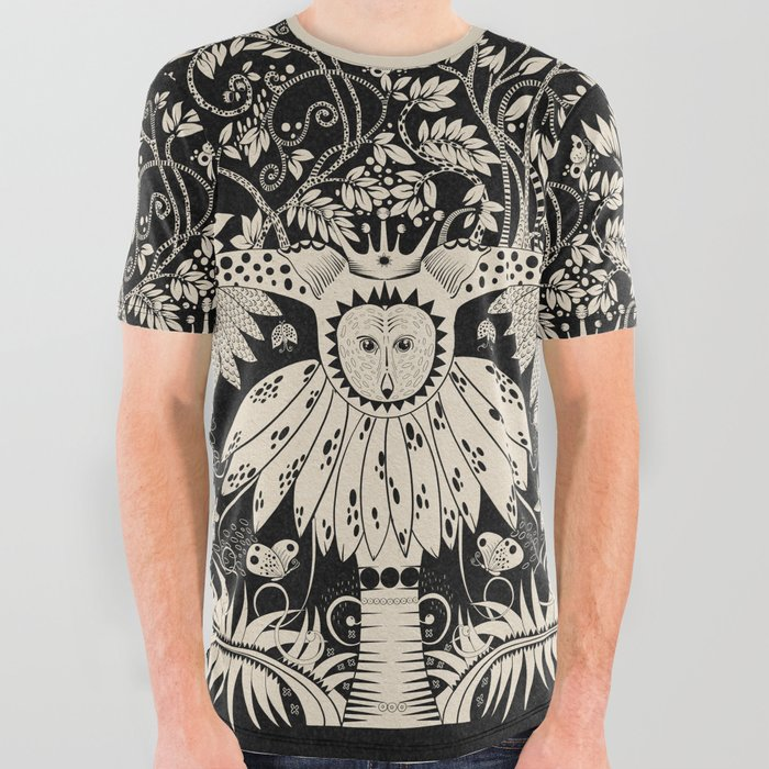 Owl king in black & white All Over Graphic Tee