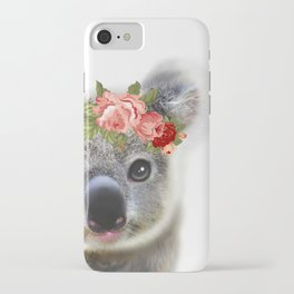 Cute Baby Animal Koala bear with Flower Crown iPhone Case