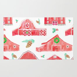 Watercolor Snowy Red Holiday Barns Rug