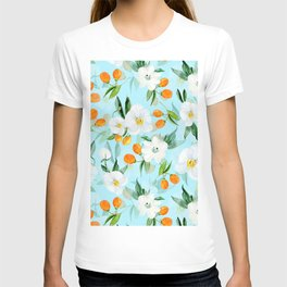 mediterranean summer kumquat and orchid branches on turquoise T-shirt