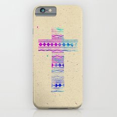 Pink Purple Aztec Pattern Cross Watercolor Paint Slim Case iPhone 6s