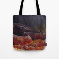 smaug Tote Bags featuring Smaug  by Chiara Martinelli Creations
