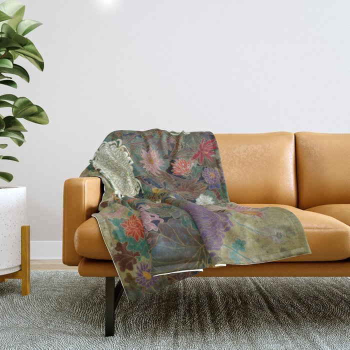 flower【Japanese painting】 Throw Blanket