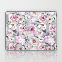 Hand painted blush pink gray violet watercolor roses floral Laptop & iPad Skin