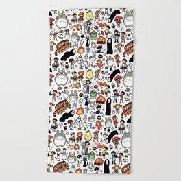 Kawaii Ghibli Doodle Beach Towel