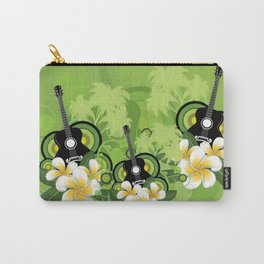 Plumeria flowers and black guitar Carry-All Pouch