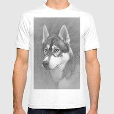Siberian Husky White MEDIUM Mens Fitted Tee