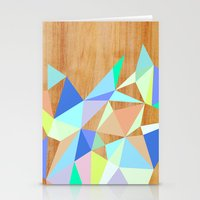 wooden Stationery Cards featuring Wooden Geo Aqua by Jenna Mhairi