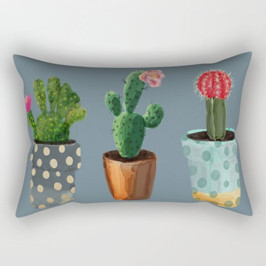 Three Cacti With Flowers On Blue Background Rectangular Pillow
