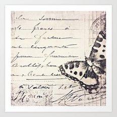 postal butterfly {b&w Art Print