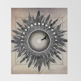 Crow Twilight Dreamcatcher Throw Blanket