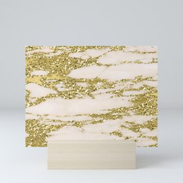 Marble - Gold Marble Glittery Light Pink and Yellow Gold Mini Art Print