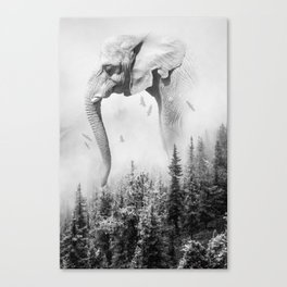 Elephant | Animal Photography | B&W | Nature | Fog | Wildlife | Abstract | Landscape Canvas Print