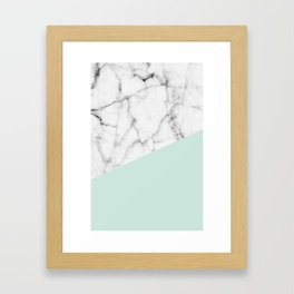 Real White marble Half pastel Mint Green Framed Art Print