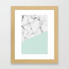 Real White marble Half pastel Mint Green Framed Art Print