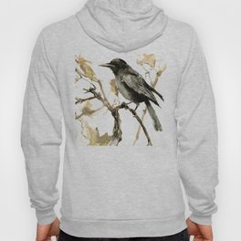 Crow in the Fall, Tribal Crow Raven art Hoody