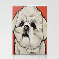 shih tzu Stationery Cards featuring Waffles the Shih Tzu by Cheney Beshara