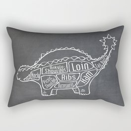 Ankylosaurus Dinosaur (A.K.A. Armored Lizard) Butcher Meat Diagram Rectangular Pillow