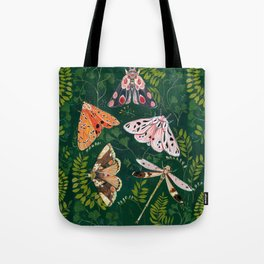 Moths and dragonfly Tote Bag