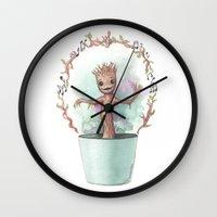 groot Wall Clocks featuring Baby Groot by Pendientera