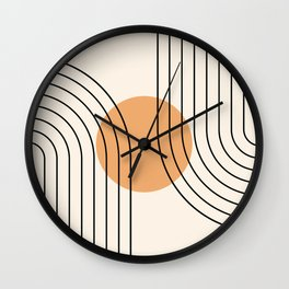 Geometric Lines in Black and Beige 14 (Rainbow and Sun Abstraction) Wall Clock