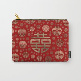 Double Happiness Symbol pattern - Gold on red Carry-All Pouch