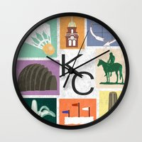 kansas city Wall Clocks featuring Kansas City Landmark Print by Jenna Davis Designs