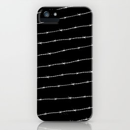 Cool black and white barbed wire pattern iPhone Case