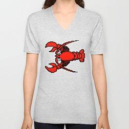 8-Bit Retro Pixel Art Lobster Unisex V-Neck