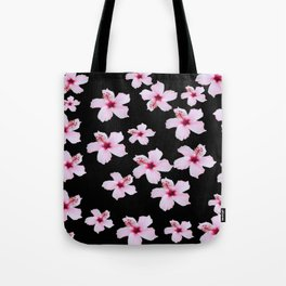 Tropical in black and pink Tote Bag