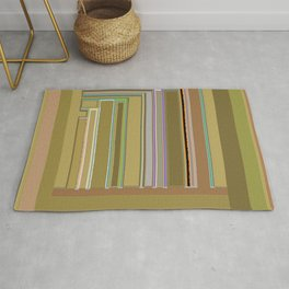 Urban Landscape in greens and browns, graphic design Rug