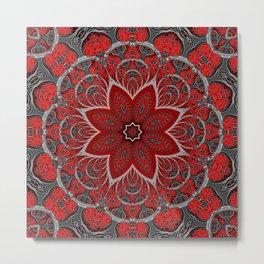 Black and Red Floral Pattern Metal Print