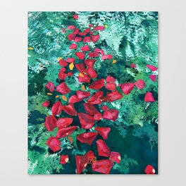 Rose Petals in Pool Water Art | Abstract Red Rose Floral Watercolor Art Print Canvas Print