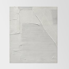 Relief [2]: an abstract, textured piece in white by Alyssa Hamilton Art Throw Blanket